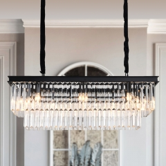 8-light Tiered Crystal Chandelier Kitchen Island Lighting For Dining Room