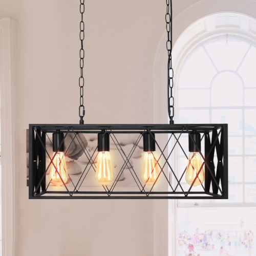 Modern 4-Lights Rectangular Farmhouse Chandelier For Kitchen Island/ Dining Room
