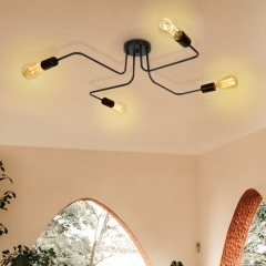Modern Mid Century 4 Light Semi Flush Ceiling Lights in Black for Bedroom/Living Room