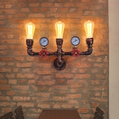 Mid-Century Rustic Three-Lights Pipe Wall Sconce in Rusty Red For Living Room/Restaurant/Entryway