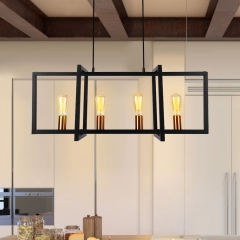 Mid Century Modern 4 Lights Black Rectangle Chandelier For Kitchen Island/Dining Table
