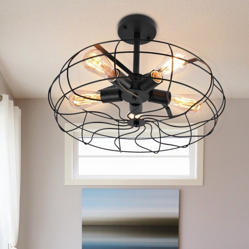 Modern Farmhouse 5 Lights Geometric Semi Flush Mount Ceiling Light for Hallway Dining Room