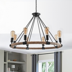 Modern Mid-century 6/8 Lights Wagon Wheel Chandelier for Living Room Kitchen