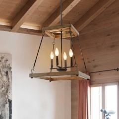 Mid-Century Modern 4 Lights Square Wood Chandelier for Kitchen Hallway