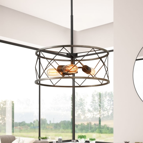Modern Rustic 3 Lights Drum Pendant Chandelier for Stairway/Entryway/Kitchen