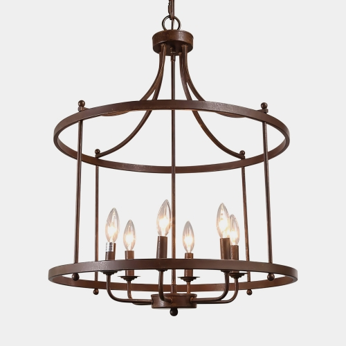 Farmhouse/ Transitional 6 Lights Drum Pendant Lighting for Entryway/Kitchen/Living Room