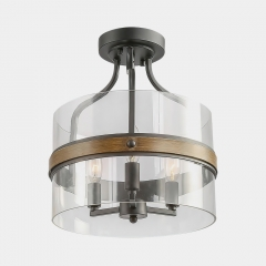 Modern Contemporary 3 Lights Semi Flush Mount Ceiling Light for Entryway/Dining Room/Living Room