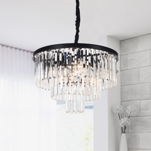 Modern Contemporary 9/6 Lights Crystal  Semi Flush Mount Chandelier for Living Room