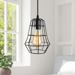 Contemporary Industrial One light Geometric Pendant Light for Kitchen Dining Room Living Room