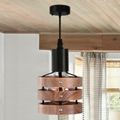 Modern Farmhouse One Light Drum Kitchen Island Pendants with Wood Accents