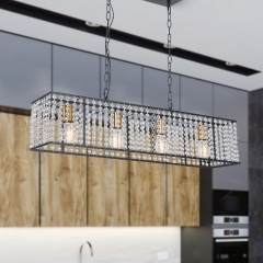 Mid Century Modern Rectangle Crystals 4-Light Kitchen Island Chandelier in Black and Gold