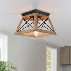 Rustic Country One-Light Wood-Like Caged Flush Mount Chandelier for Living Room Bedroom