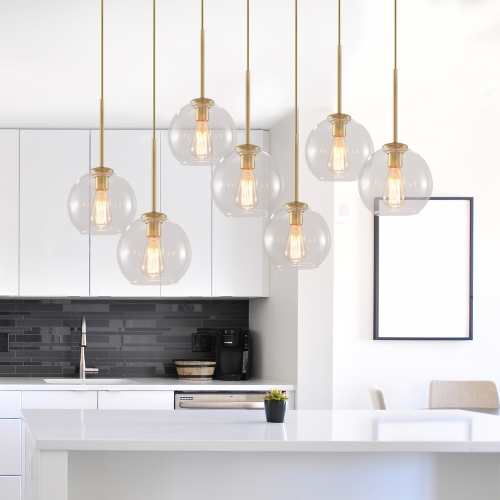 Modern Mid-Century 7-Lights Cluster Glass Pendant Light for Restaurant Bar Kitchen island Dining Table