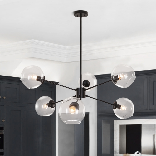 Modern Mid-Century 6 Lights Black Sputnik Chandelier for Living Room Dining Room Bedroom