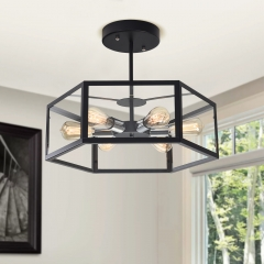 Modern Industrial Six Lights Square Semi Flush Mount Ceiling Light for Entryway  Kitchen