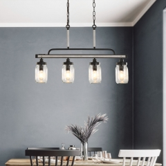 Modern Farmhouse 4 Lights Glass Pendant Lights for Dining Table /Kitchen Island