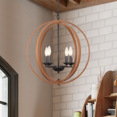 Rustic Style Four-Light Orb Geometric Pendant Light for Kitchen/ Living Room/Hallway