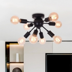 Vintage modern farmhouse Semi Flush Mount Ceiling Light with 8 Light for Kitchen Dining Room/ Bedroom