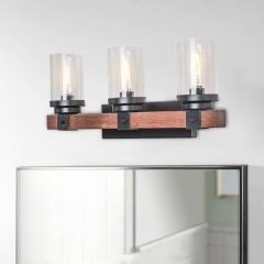 3 Light Modern Farmhouse Bathroom Vanity Light Wall Sconce Rustic Wooden Exterior Lighting With Bubble Glass Shades for Outdoor / Bathroom / Restauran