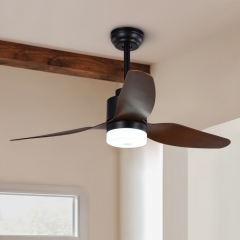 Dimmable Mid-Century Farmhouse Rustic Ceiling Fan with Lights in Matt Black
