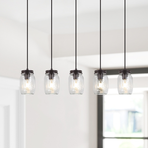 Modern Farmhouse 5/7 Lights  Mason Jar Pendant Light for  Dining Room Kitchen
